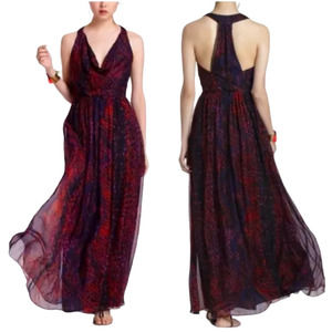 ANTHROPOLOGIE Silk Maxi Dress Seeped Sinopia M EUC